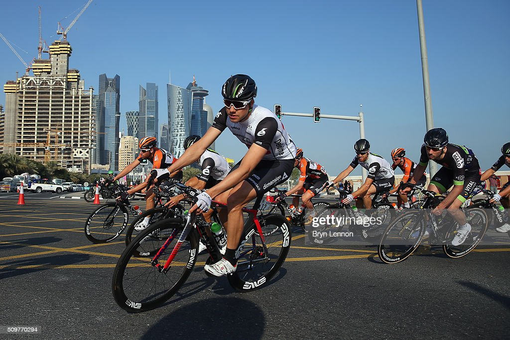 <a gi-track='captionPersonalityLinkClicked' href=/galleries/search?phrase=Edvald+Boasson+Hagen&family=editorial&specificpeople=4451245 ng-click='$event.stopPropagation()'>Edvald Boasson Hagen</a> of Norway and Dimension Data rides in the peloton on the 2016 Tour of Qatar, on stage 5 from Sealine Beach Resort to Doha Corniche, on February 12, 2016 in Doha, Qatar