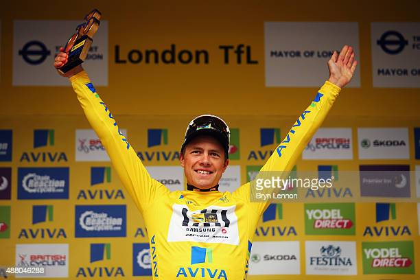 Edvald Boasson Hagen of Norway and MTNQhubeka stands on teh podium after wininng the 2015 Tour of Britain an 868km stage around central London on...