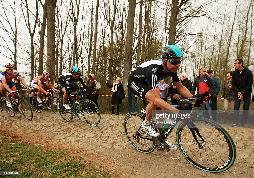 Edvald Boasson Hagen of Norway and SKY Procycling leads team mate Juan Antonio Flecha of Spain over the cobbles during the 2012 Paris Roubaix cycle race from Compiegne to Roubaix on April 8, 2012 in Roubaix, France. The 110th edition of the race is 257km long with 51.5km of cobbles spread over 27 sections.