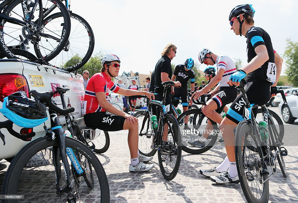 <a gi-track='captionPersonalityLinkClicked' href=/galleries/search?phrase=Edvald+Boasson+Hagen&family=editorial&specificpeople=4451245 ng-click='$event.stopPropagation()'>Edvald Boasson Hagen</a> of Norway and SKY Procycling waits with his team for the start of stage one of the 2013 Tour of Qatar from Katara Cultural Village to Dukhan Beach on February 3, 2013 in Doha, Qatar.