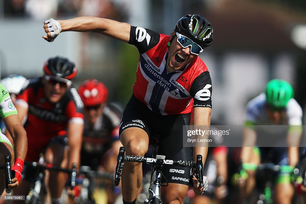 <a gi-track='captionPersonalityLinkClicked' href=/galleries/search?phrase=Edvald+Boasson+Hagen&family=editorial&specificpeople=4451245 ng-click='$event.stopPropagation()'>Edvald Boasson Hagen</a> of Norway and Team Dimension Data celebrates winning stage four of the 2016 Criterium du Dauphine, a 176km stage from Tain-l'Hermitage to Belley, on June 9, 2016 in Belley, France.