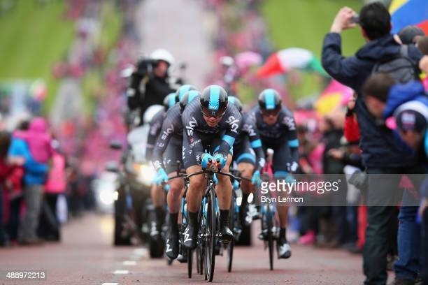 Edvald Boasson Hagen of Norway and Team SKY leads his team during the first stage of the 2014 Giro d'Italia a 21km Team Time Trial stage at the...
