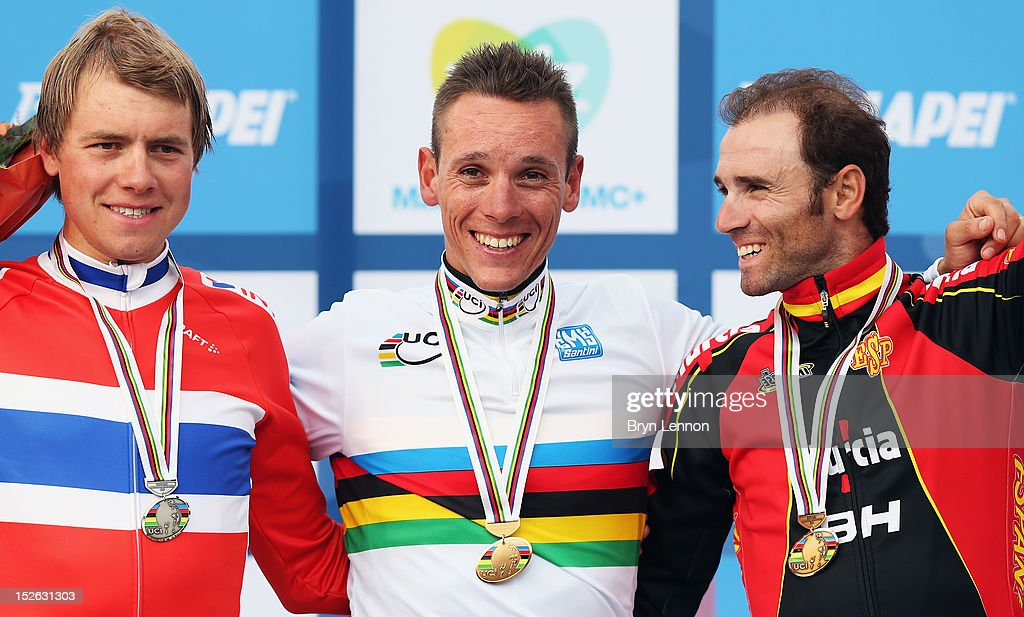 Edvald Boasson Hagen of Norway (2nd) Philippe Gilbert of Belgium (1st) and Alejandro Valverde of Spain (3rd) stand on the podium after the Men's Elite Road Race on day eight of the UCI Road World Championships on September 23, 2012 in Valkenburg, Netherlands.