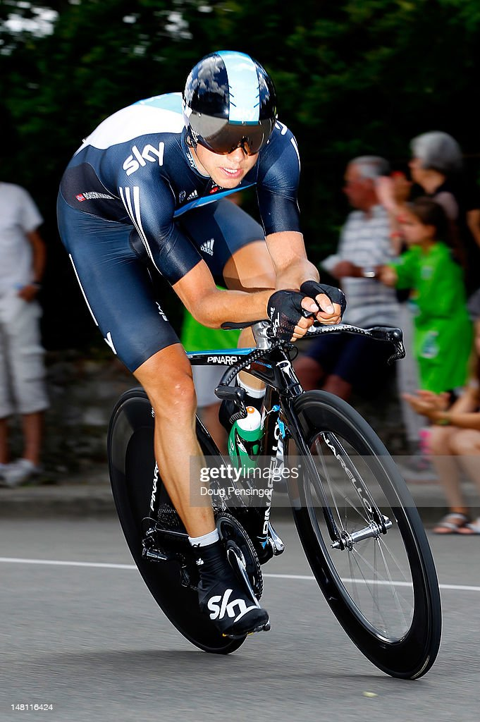Edvald Boasson Hagen of Norway riding for Sky Procycling competes in the individual time trial on stage nine of the 2012 Tour de France from Arc-et-Senans to Besancon on July 9, 2012 in Besancon, France.