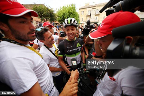 Edvald Boasson Hagen of Norway riding for Team Dimension Data celebrates after winning stage 19 of the 2017 Le Tour de France a 2225km stage from...