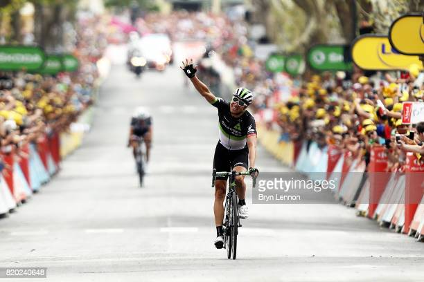 Edvald Boasson Hagen of Norway riding for Team Dimension Data crosses the line and takes the stage win on stage nineteen of the 2017 Tour de France a...