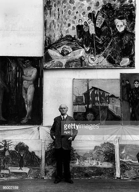 Edvard Munch Norwegian painter in 1938 in the whorkshop of his Winter Studio at Ekely in Norway