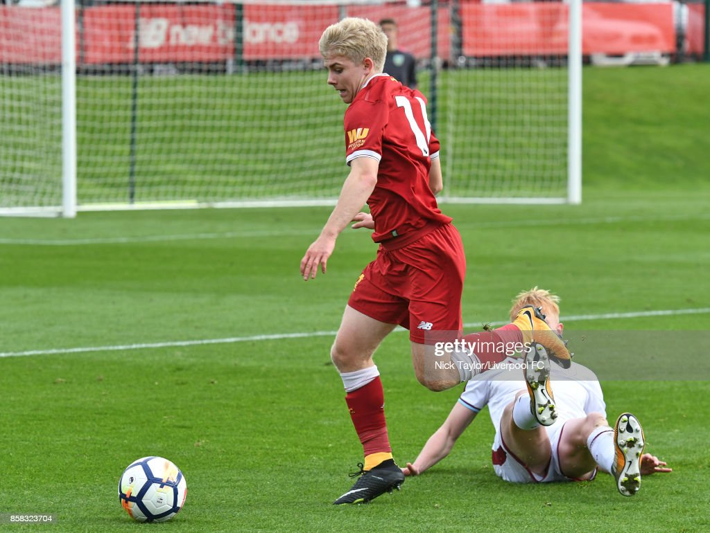 Edvard Sandvik Tagseth of Liverpool in action during the U18 friendly match between Liverpool and Burnley at The Kirkby Academy on October 6, 2017 in Kirkby, England.