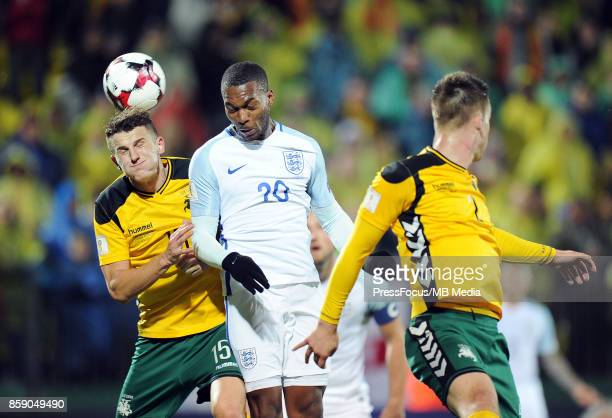 Edvinas Girdvainis Daniel Sturridge during the FIFA 2018 World Cup Qualifier between Lithuania and England on October 8 2017 in Vilnius Lithuania