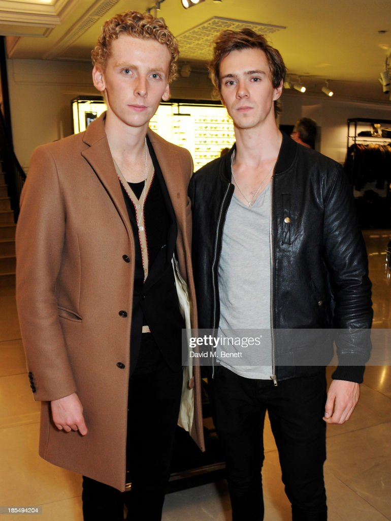 Edward Ashley (L) and Sam Keeley attend the BAFTA 'Breakthrough Brits' event at Burberry 121 Regent Street, London on October 21, 2013 in London, United Kingdom.