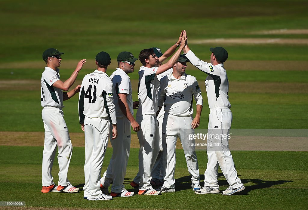 Edward Barnard of Worcestershire celebrates the wicket of Brendan Taylor of Nottinghamshire during day two of the LV County Championship match...