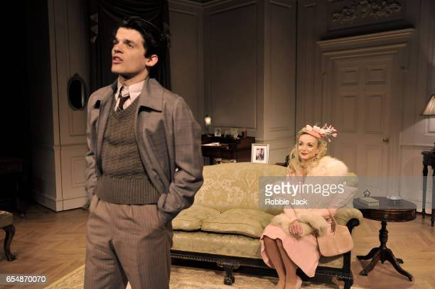 Edward Bluemel as Michael Brown and Helen George as Diana Fletcher in Terence Rattigan's Love In Idleness directed by Trevor Nunn at Menier Chocolate...