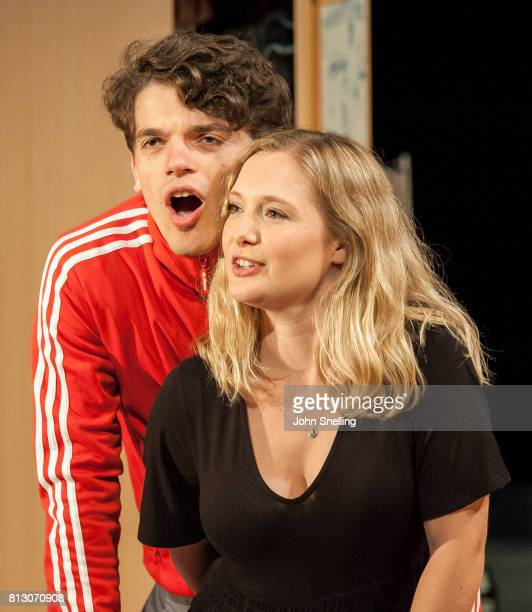 Edward Bluemel as Paddy and Amy Morgan as Dee perform on stage during performance of the 'Touch' a new play written and directed by Vicky Jones at...