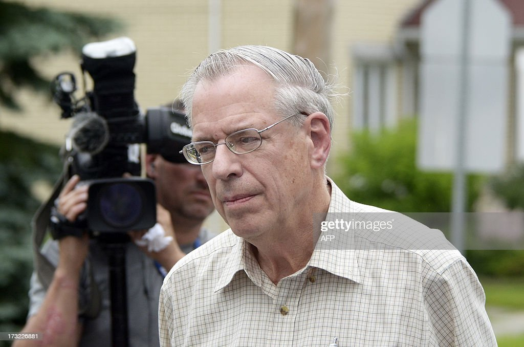 Edward Bukhardt CEO of Montreal Maine and Atlantic Railways Inc speaks during a press conference on the July 6 train derailment and fire July 10 2013...