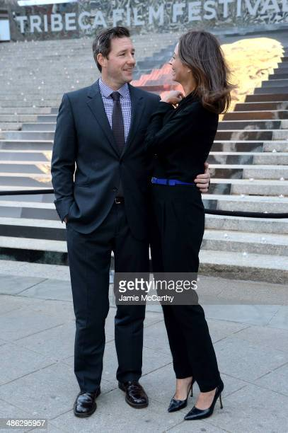 Edward Burns and Christy Turlington Burns attend the Vanity Fair Party during the 2014 Tribeca Film Festival at the State Supreme Courthouse on April...