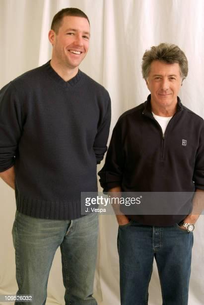 Edward Burns and Dustin Hoffman during 2003 Sundance Film Festival 'Confidence' Portraits at Yahoo Movies Portrait Studio in Park City Utah United...