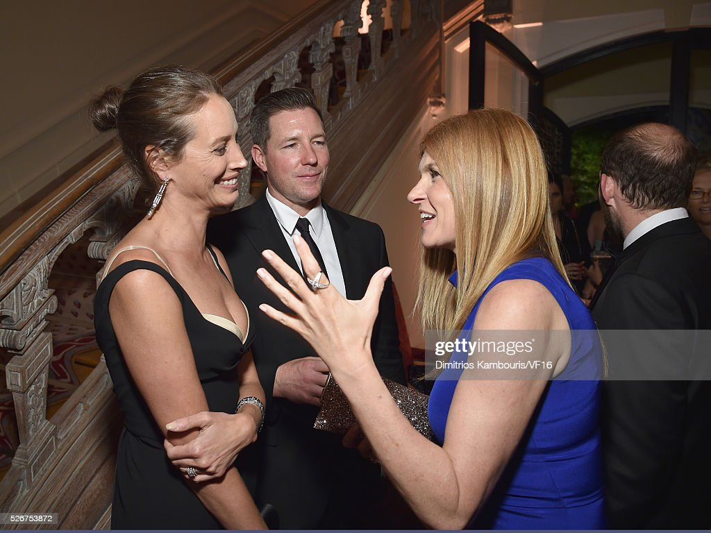 Edward Burns, Christy Turlington and Connie Britton attend the Bloomberg & Vanity Fair cocktail reception following the 2015 WHCA Dinner at the residence of the French Ambassador on April 30, 2016 in Washington, DC.
