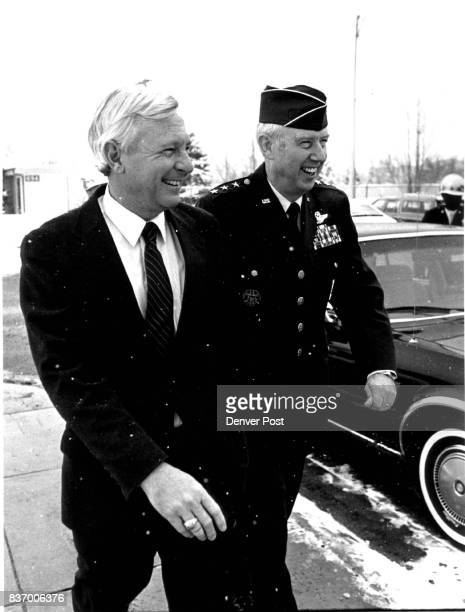 Edward C Aldridge Jr Secretary of the Air Force arrives at the graduation ceremony at Lowery Air Force Base with Lt John A Shaud Credit The Denver...
