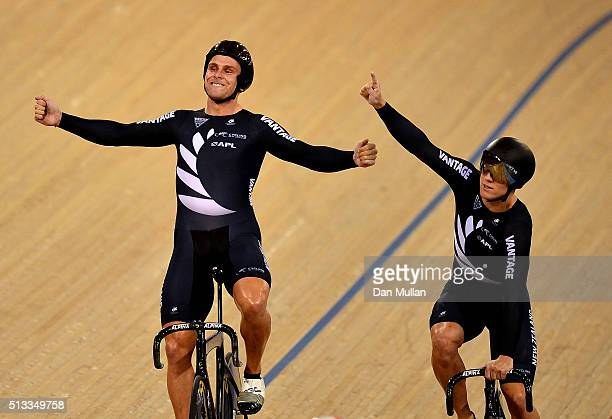 Edward Dawkins and Ethan Mitchell of New Zealand celebrate winning gold in the mens team sprint during the UCI Track Cycling World Championships at...