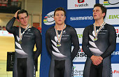 Edward Dawkins Ethan Mitchell and Sam Webster of New Zealand look on as they receive their Silver medals after being relegated from Gold medal...