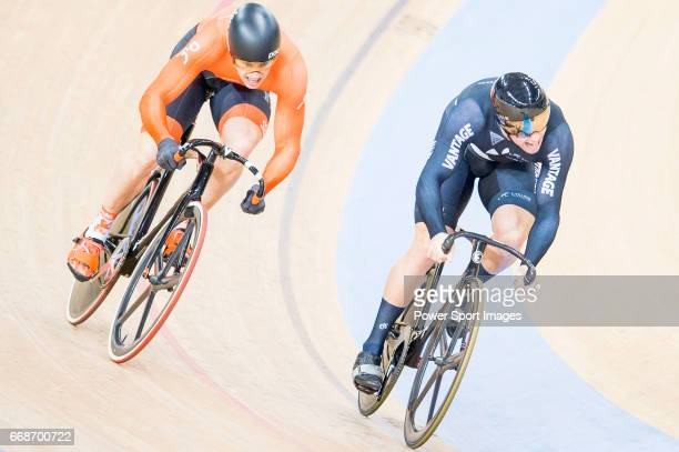 Edward Dawkins of New Zealand and Harrie Lavreysen of the Netherlands compete on the Men's Sprint Quarterfinals 2nd Race during 2017 UCI World...