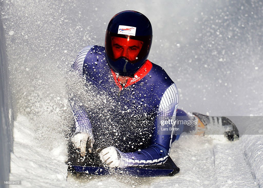 Edward Dominic Parsons of Great Britain competes during a training session at Olympia Bob Run on January 30, 2013 in St Moritz, Switzerland.