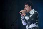 Edward Droste of Grizzly Bear performs on stage during Falls Festival on December 30 2013 in Lorne Australia