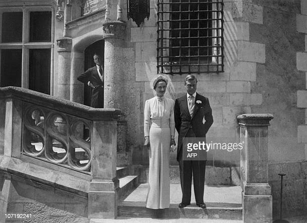 Edward Duke of Windsor and formerly Edward VIII of England and his wife Wallis Simpson are seen 03 June 1937 during their wedding at Chateau de Candé...