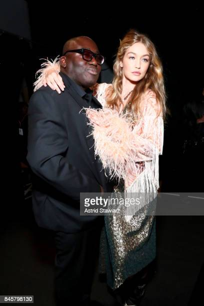 Edward Enninful and Gigi Hadid pose backstage for Anna Sui fashion show during New York Fashion Week The Shows at Gallery 1 Skylight Clarkson Sq on...