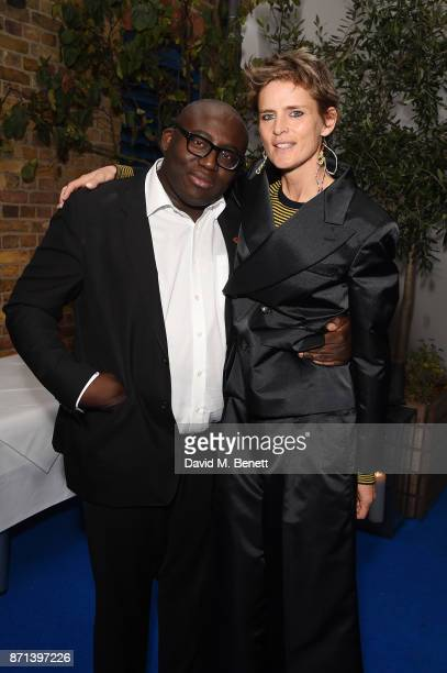Edward Enninful and Stella Tennant attend a dinner hosted by Jonathan Newhouse and Albert Read for Edward Enninful to celebrate the December issue of...