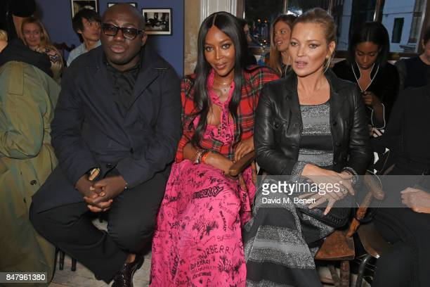 Edward Enninful Naomi Campbell and Kate Moss wearing Burberry at the Burberry September 2017 at London Fashion Week at The Old Sessions House on...