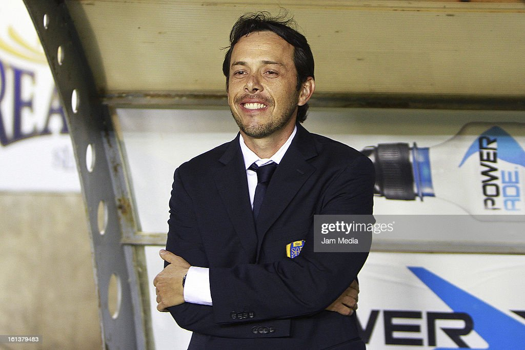 Edward Fenton, coach of San Luis smiles during a match between San Luis and Puebla as part of the Clausura 2013 Liga MX at Alfonso Lastras Stadium on February 09, 2013 in San Luis Potosi, Mexico.
