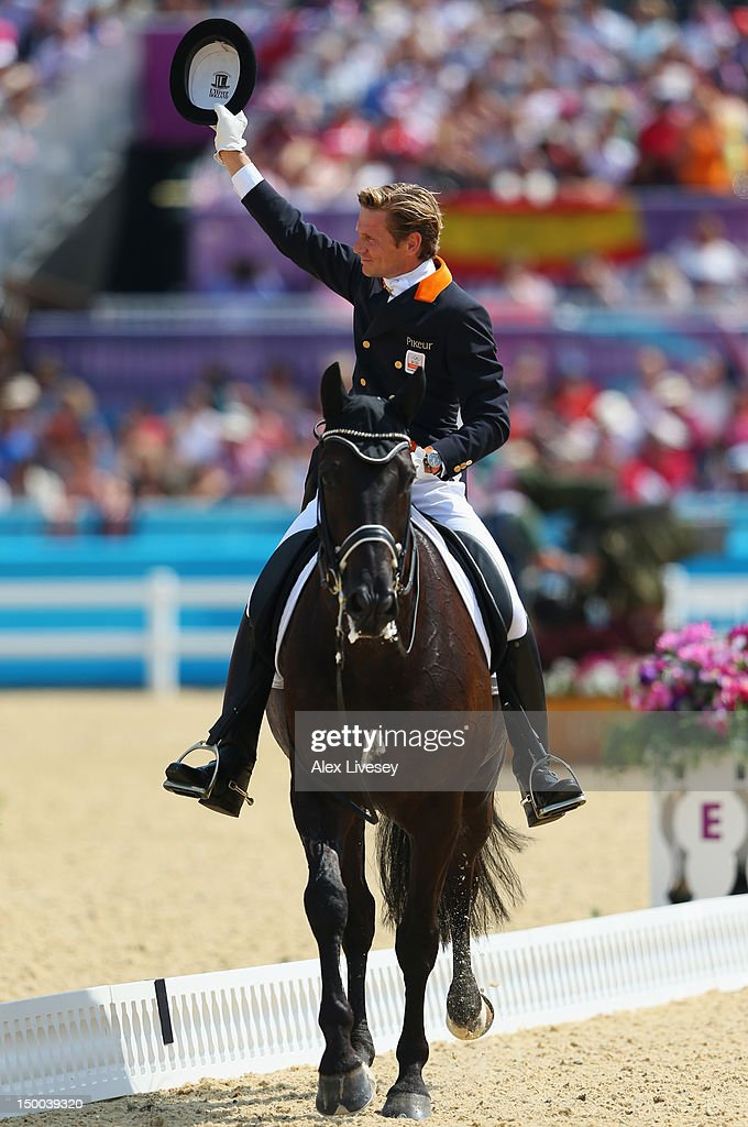 <a gi-track='captionPersonalityLinkClicked' href=/galleries/search?phrase=Edward+Gal&family=editorial&specificpeople=2272233 ng-click='$event.stopPropagation()'>Edward Gal</a> of Netherlands riding Undercover reacts during the Individual Dressage on Day 13 of the London 2012 Olympic Games at Greenwich Park on August 9, 2012 in London, England.