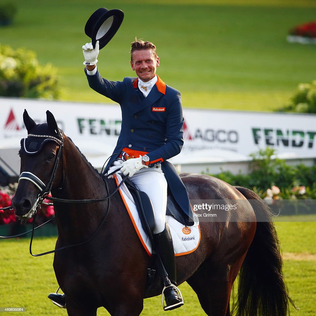 <a gi-track='captionPersonalityLinkClicked' href=/galleries/search?phrase=Edward+Gal&family=editorial&specificpeople=2272233 ng-click='$event.stopPropagation()'>Edward Gal</a> of the Netherlands reacts after competing on his horse Glock's Undercover N.O.P. in the Dressage Grand Prix team final and individual qualifier competition during Day 2 of the FEI European Equestrian Championship 2015 on August 13, 2015 in Aachen, Germany.