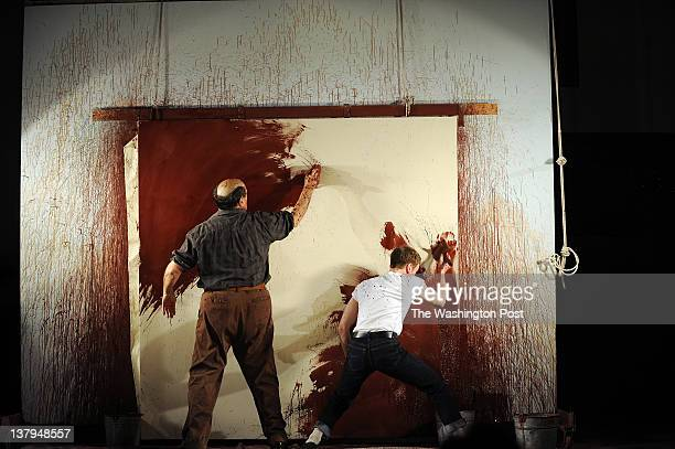 Edward Gero plays Mark Rothko left and Patrick Andrews plays Ken his assistant during a dress rehearsal of 'Red' at the Arena Stage Red tells the...
