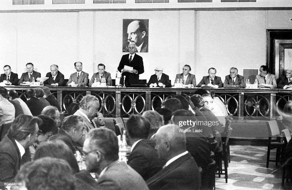 Edward Gierek - First Secretary of the Polish United Workers' Party at the IV plenary session of the Central Committee in Warsaw, Poland, on 24th August 1980. Second to Gierek's left: Minister of Defence <a gi-track='captionPersonalityLinkClicked' href=/galleries/search?phrase=Wojciech+Jaruzelski&family=editorial&specificpeople=206791 ng-click='$event.stopPropagation()'>Wojciech Jaruzelski</a>.