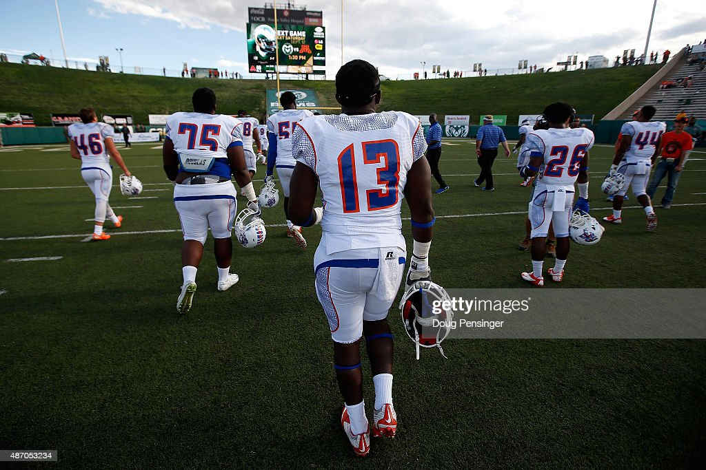 Edward Goubadia and the Savannah State Tigers leave the field after being defeated 6513 by the Colorado State Rams at Sonny Lubick Field at Hughes...