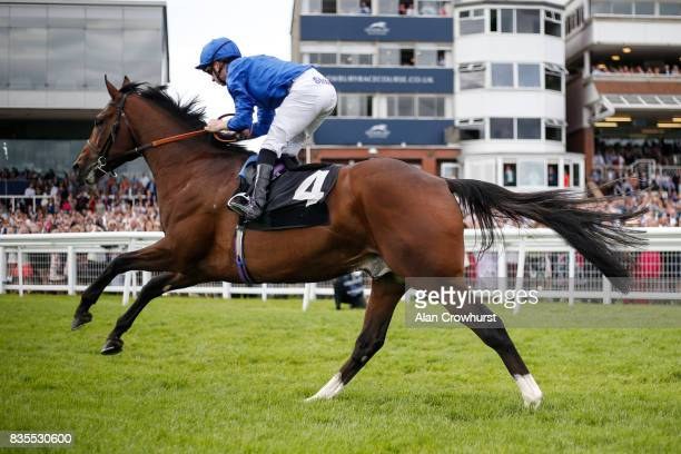Edward Greatrex riding Gold Star win The Betfred Proud To Work With Simpson Group EBF Maiden Stakes at Newbury racecourse on August 19 2017 in...