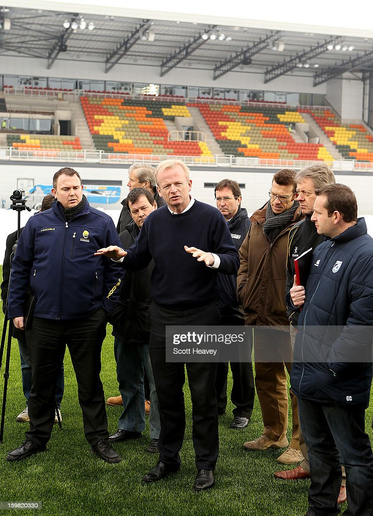 Edward Griffiths, the Saracens chief executive talks the members of the press during a Saracens media day at Allianz Park on January 21, 2013 in Barnet, England.