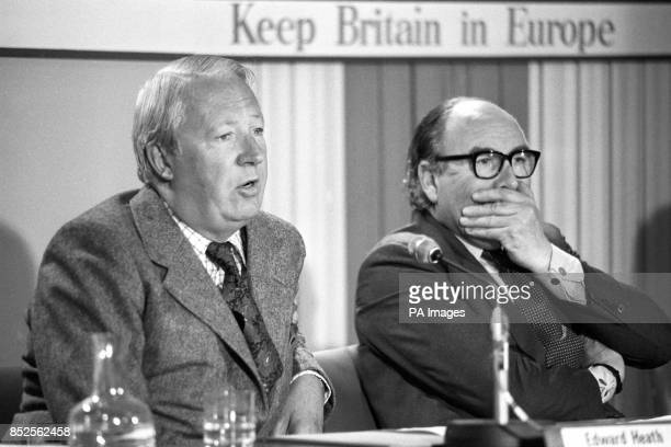 Edward Heath and Home Secretary Roy Jenkins attend a press conference at the Waldorf Hotel for the organisation Britain in Europe