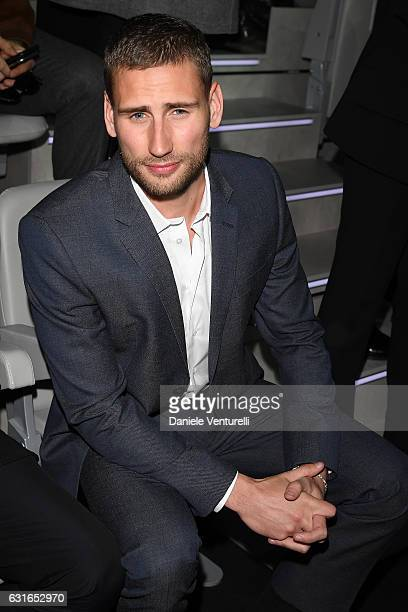 Edward Holcroft attends the Emporio Armani show during Milan Men's Fashion Week Fall/Winter 2017/18 on January 14 2017 in Milan Italy