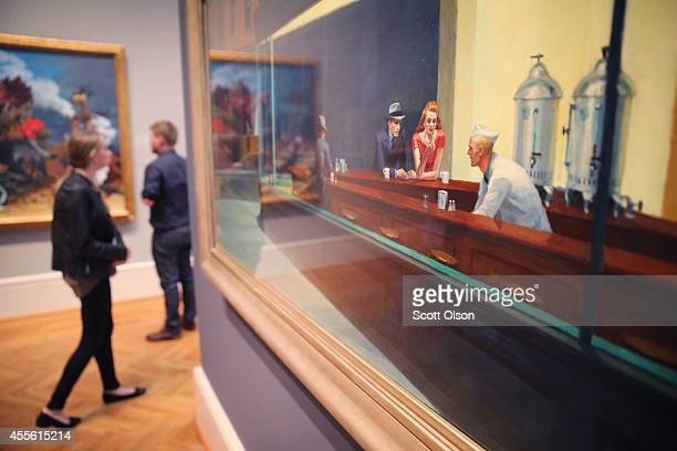 Edward Hopper's Nighthawks hangs at the Art Institute of Chicago on September 17 2014 in Chicago Illinois The museum which draws around15 million...