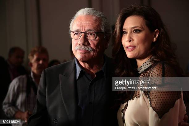 Edward James Olmos and Angie Cepeda attend Platino Awards 2017 press conference on July 21 2017 in Madrid Spain