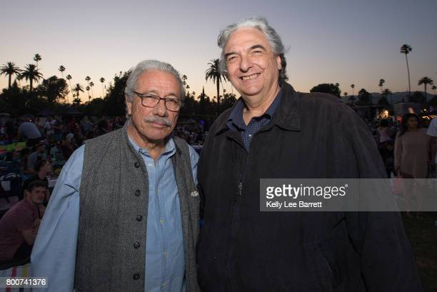 Edward James Olmos and Gregory Nava attend Cinespia's screening of 'Selena' held at Hollywood Forever on June 24 2017 in Hollywood California
