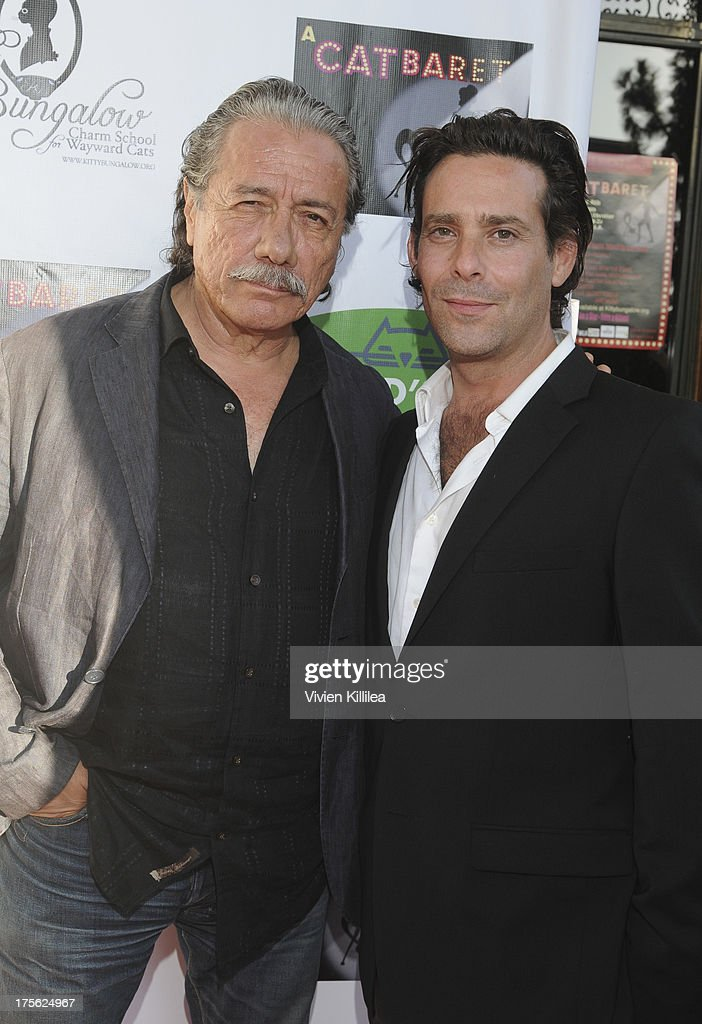 <a gi-track='captionPersonalityLinkClicked' href=/galleries/search?phrase=Edward+James+Olmos&family=editorial&specificpeople=213817 ng-click='$event.stopPropagation()'>Edward James Olmos</a> and <a gi-track='captionPersonalityLinkClicked' href=/galleries/search?phrase=James+Callis&family=editorial&specificpeople=851182 ng-click='$event.stopPropagation()'>James Callis</a> attend 'CATberet' - A Musical Review For Local Cat And Kitten Rescue Center Kitty Bungalow Charm School For WaywardCats at Belasco Theatre on August 4, 2013 in Los Angeles, California.