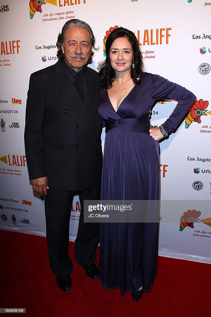 <a gi-track='captionPersonalityLinkClicked' href=/galleries/search?phrase=Edward+James+Olmos&family=editorial&specificpeople=213817 ng-click='$event.stopPropagation()'>Edward James Olmos</a> (L) and Marlene Dermer attend The 2013 Los Angeles Latino International Film Festival - Opening Night Gala Premiere of 'Pablo' at the El Capitan Theatre on October 10, 2013 in Hollywood, California.