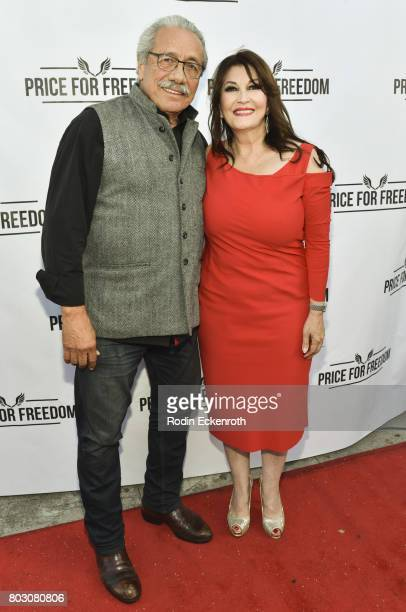 Edward James Olmos and Mary Apick attend screening of 'Price For Freedom' at Laemmle Music Hall on June 28 2017 in Beverly Hills California