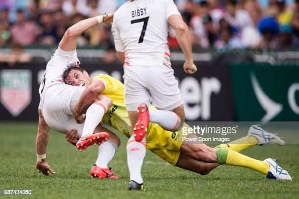 Edward Jenkins of Australia in action during the Pool A match between England vs Australia as part of the HSBC Hong Kong Rugby Sevens 2017 on 08...