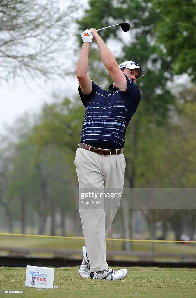 Edward Loar hits a drive on the fourth hole during the third round of the Chitimacha Louisiana Open at Le Triomphe Country Club on March 23, 2013 in Broussard, Louisiana.
