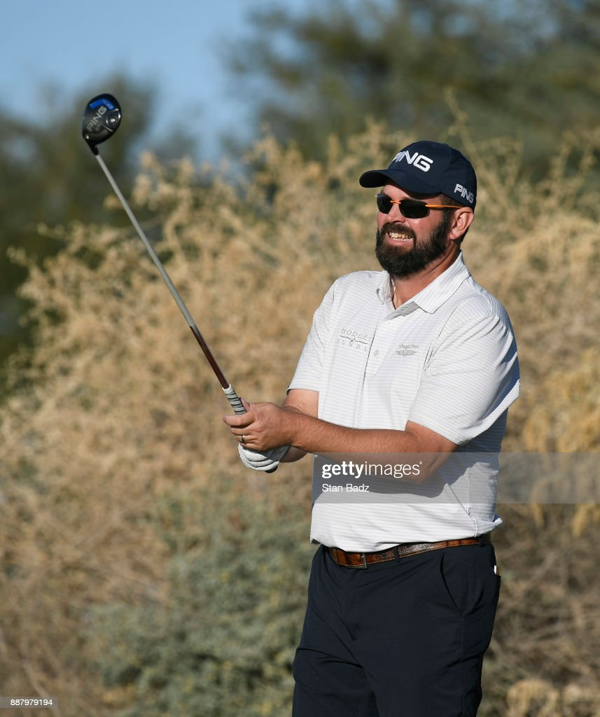 Edward Loar plays a tee shot on the ninth hole during the first round of the Web.com Tour Qualifying Tournament at Whirlwind Golf Club on the Devil's Claw course on December 7, 2017 in Chandler, Arizona.